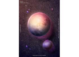 时尚简洁渐变月球星球行星主题海报设计