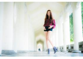 女人,亚洲的,妇女,模特,女孩,长的,头发,短裤,深度,关于,领域,黑