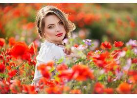 女人,模特,,妇女,女孩,蓝色,眼睛,白皙的,口红,花,深度,关于,领域图片
