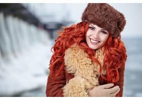 女人,模特,,妇女,女孩,长的,头发,微笑,棕色,眼睛,红色,头发,帽子图片