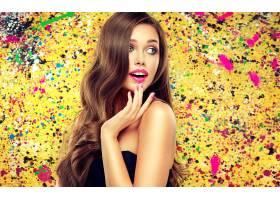 女人,模特,,妇女,女孩,长的,头发,黑发女人,口红,蓝色,眼睛,壁纸,图片