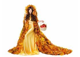 女人,模特,,妇女,女孩,黄色,穿衣,黑发女人,叶子,苹果,微笑,棕色,图片
