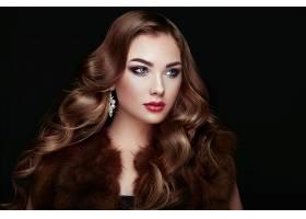 女人,模特,,妇女,女孩,黑发女人,长的,头发,口红,脸,蓝色,眼睛,耳