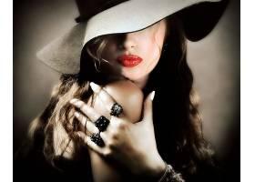 女人,脸,妇女,女孩,口红,帽子,戒指,壁纸,