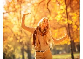 女人,情绪,妇女,模特,女孩,围巾,白皙的,微笑,深度,关于,领域,秋