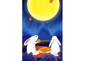 玉兔赏月吃月饼