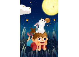 小女孩与玉兔插画