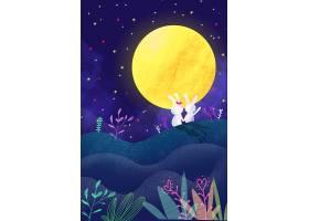 玉兔赏月插画