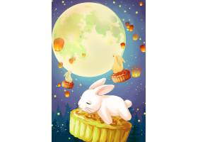 玉兔与月饼插画