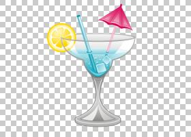 鸡尾酒卡通,线路,蓝泻湖,鸡尾酒装饰,蓝色夏威夷,玻璃,马提尼玻璃