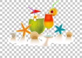 海滩背景,喝酒,水果,鸡尾酒装饰,果汁,食物,贝壳,海滩,酒吧,夏威