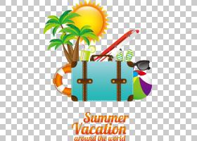 旅游夏日海滩,字体,线路,文本,面积,徽标,旅行,手提箱,暑假,休假,