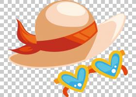 太阳卡通,线路,橙色,头盔,髓头盔,免费,度假村,孙帽子,休假,海滩,图片