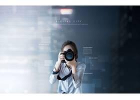 互联网信息技术摄影的女性主题海报设计