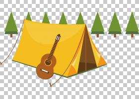 夏季绘画,线路,黄色,角度,动画,卡通,绘图,材质,篝火,野餐,帐篷,