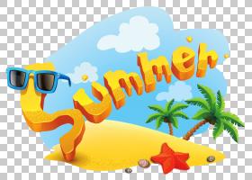 夏季夏季,卡通,字体,黄色,文本,面积,爬行动物,休假,夏日忧伤塞德