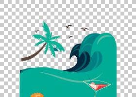 夏季海报背景,线路,绿色,水,鱼,叶,海,波浪,海滩,夏天,海报,风浪,