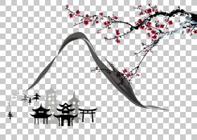 黑白花,黑白,线路,分支,树,花,植物,绘画,日本文化,山水画,水彩画