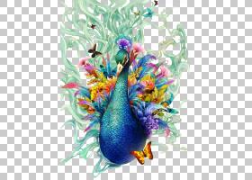 水彩抽象背景,喙,花,亚洲孔雀,颜色,油漆,版画制作,抽象艺术,水彩