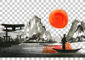 太阳卡通,广告,水,海报,太阳,绘画,景观,免费,山水画,水彩画,日落