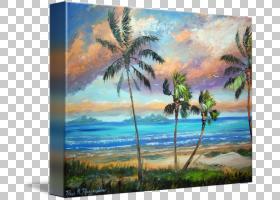 热带岛屿度假胜地绘画岸边艺术海滩,热带岛屿PNG剪贴画景观,海滨