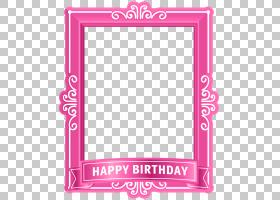 生日蛋糕向你生日快乐粉色底框粉色生日快乐相框PNG剪贴画框架,假