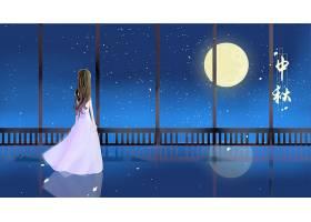 女子赏月插画