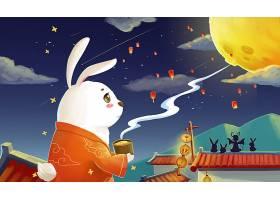 玉兔与圆月插画