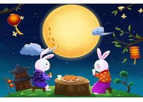 兔子夫妻赏月插画