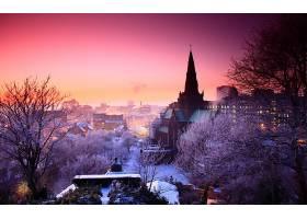 城镇,城市,全景画,冬天的,壁纸,图片