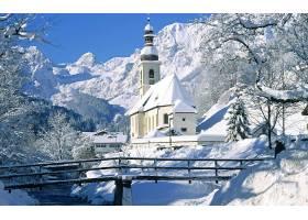建筑物,建筑物,冬天的,德国,地球,雪,教堂,树,壁纸,图片