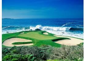 高尔夫球,课程,高尔夫球,海洋,波浪,高尔夫球,绿色的,运动,图片