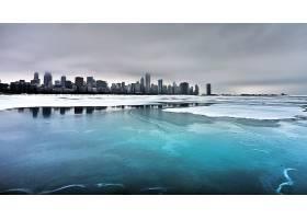芝加哥,城市,一致的,州,风景,冰,雪,河,城市,云,冬天的,蓝色图片