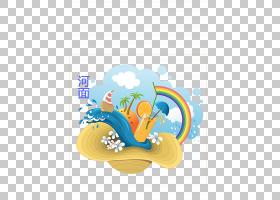 夏季海报背景,卡通,线路,橙色,黄色,圆,绘图,休假,徽标,夏天,海报