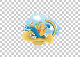 夏季海报背景,圆,橙色,餐具,绘图,暑假,徽标,海报,夏天,热带,海滩