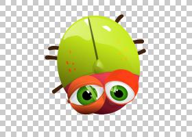 背景绿色,微笑,绿色,水果,杀虫剂载体,瓢虫,绘图,动画,卡通,眼睛,