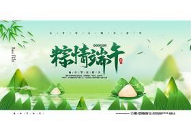 清新简约粽情端午节宣传展板