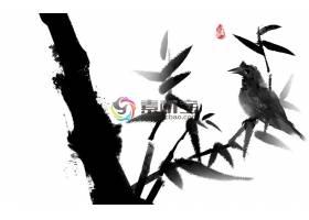中国风大气水墨画唯美意境装饰插画