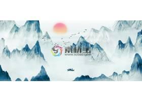 中国风水墨丹青山水插画