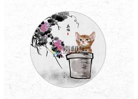 创意时尚中国风圆形花猫水墨插画