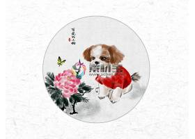 创意时尚中国风圆形可爱的小狗水墨插画