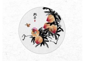 创意时尚中国风圆形桃子水墨插画