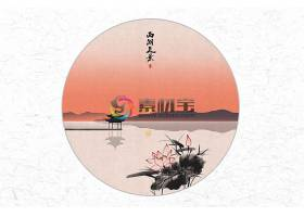 创意时尚中国风圆形西湖美景水墨插画