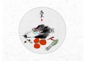 创意时尚中国风圆形蔬菜水墨插画