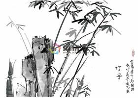 中国风水墨竹子插画