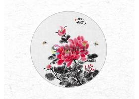 创意时尚中国风圆形牡丹花水墨插画