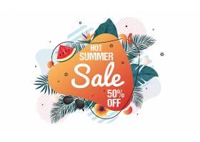 创意植物叶子与物品元素组合夏季促销网页标签