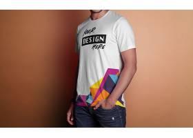 时尚男士模特T恤服饰LOGO展示样机