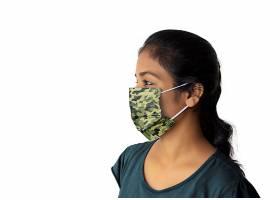 外国女性戴着口罩LOGO展示样机