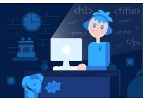 人物熬夜看电脑装饰插画设计
